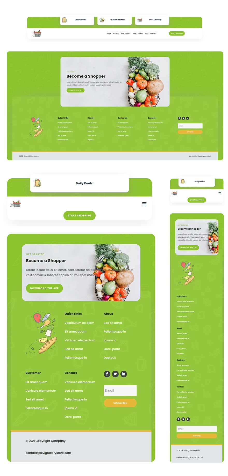 grocery delivery header footer