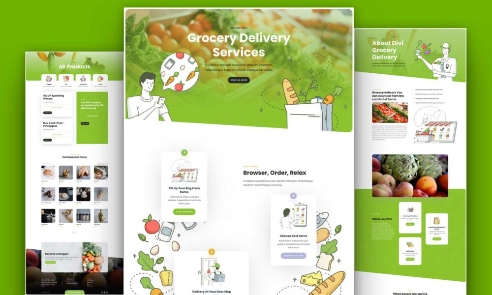 Get a FREE Grocery Delivery Layout Pack for Divi