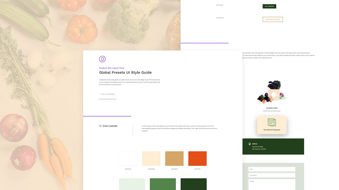 Download a FREE Global Presets Style Guide for Divi's Produce Box Layout Pack