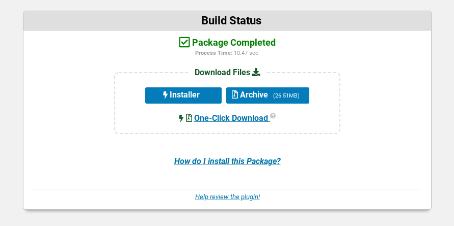 The Package Completed page on the WordPress Duplicator plugin.