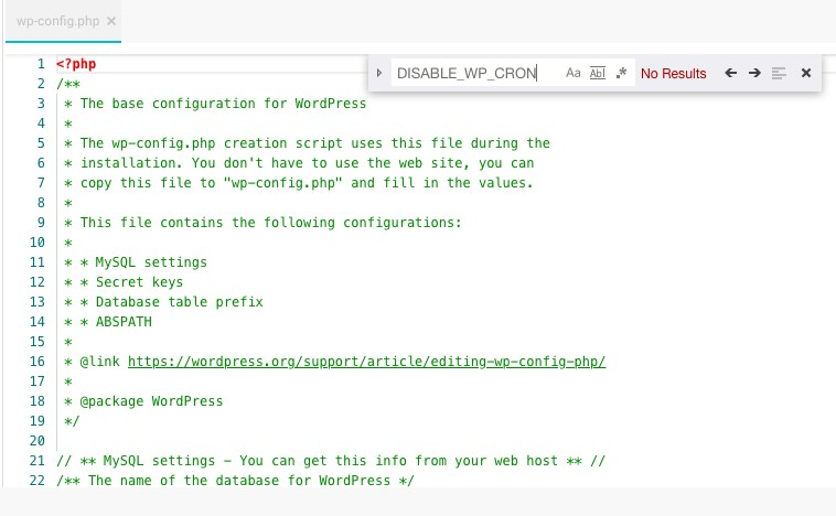 edit wp config file for wp-cron