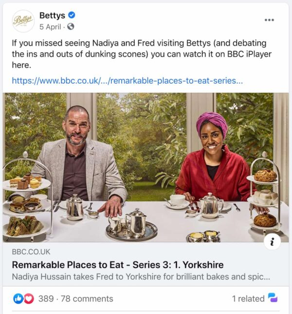 example of social media post by Bettys