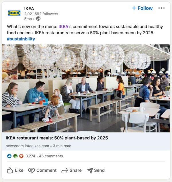 example of social media post by IKEA