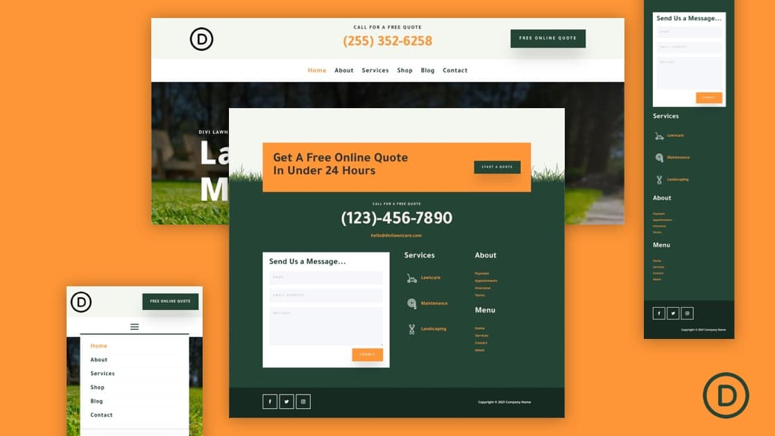 Download a FREE Header and Footer Template for Divi's Landscape Maintenance Layout Pack