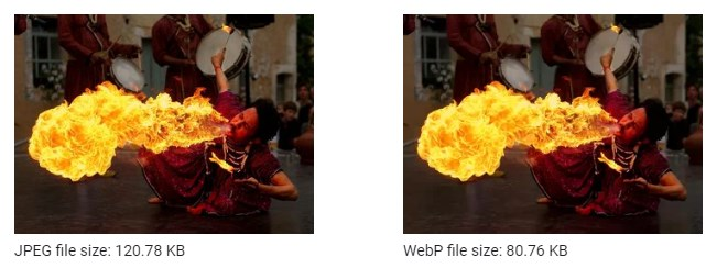 file size difference between JPEG and WebP