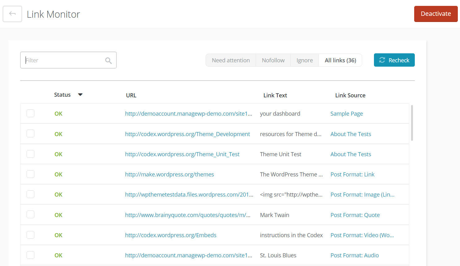 Link Monitor in the ManageWP dashboard.