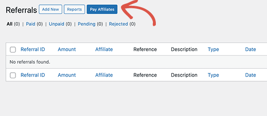 Manually pay affiliates