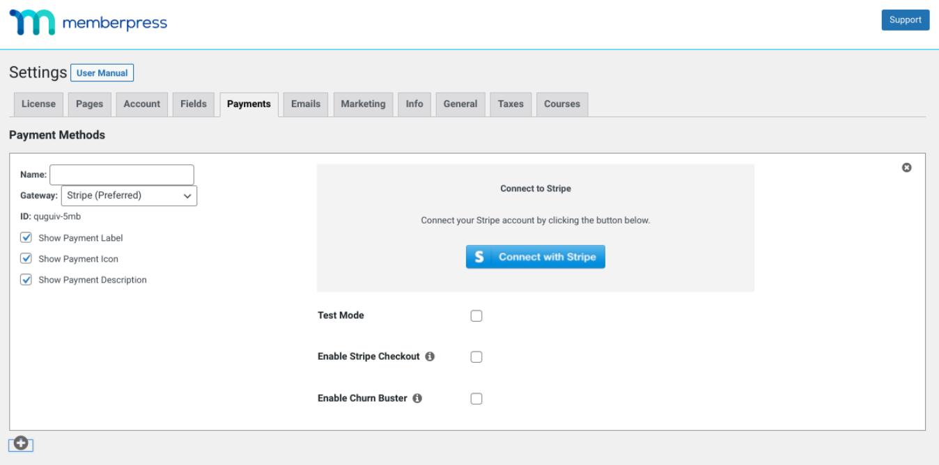 The Stripe payment settings for the MemberPress plugin.