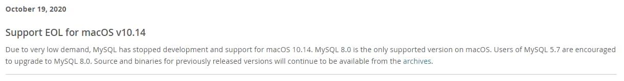 Support EOL for macOS v10.14