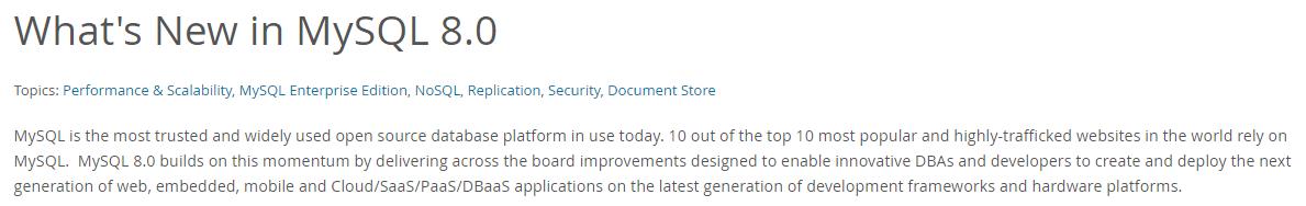 What's new in MySQL 8.0.