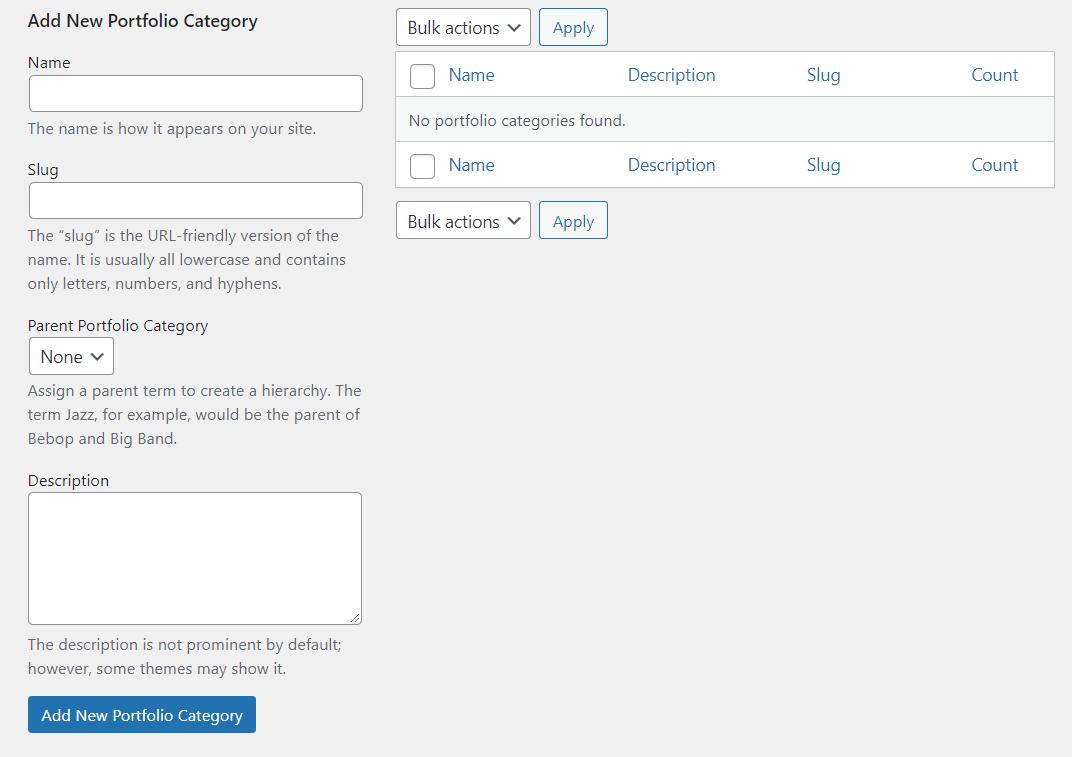 Adding new portfolio categories