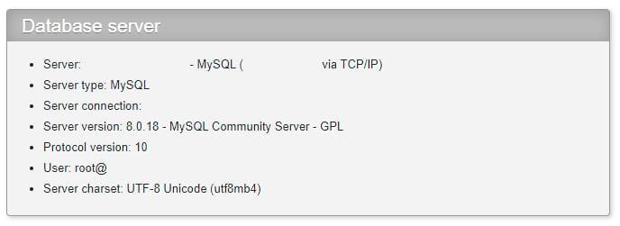 Viewing MySQL version in phpMyAdmin