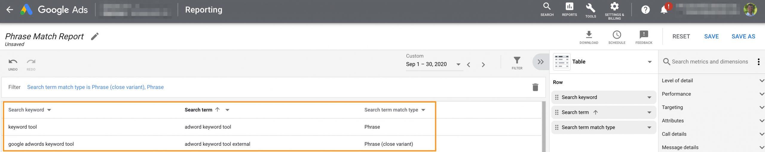 Build a phrase match close variant report.