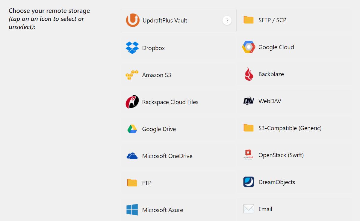 UpdraftPlus remote storage settings