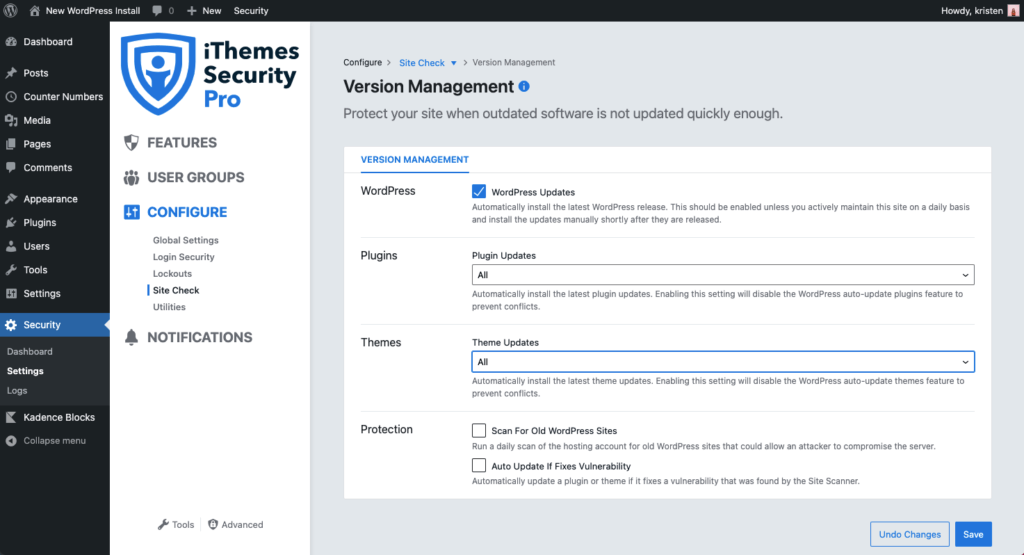 iThemes Security Pro version management