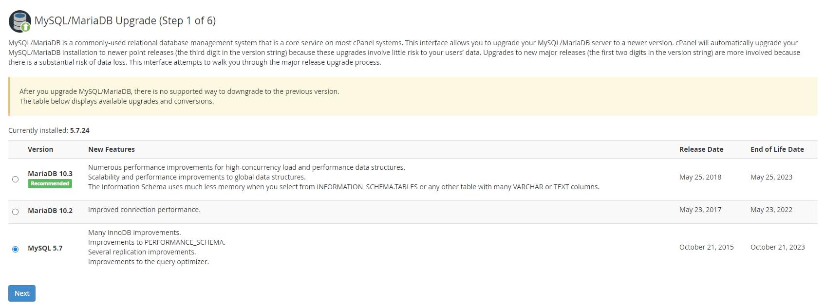 Web Host Manager cPanel MySQL update