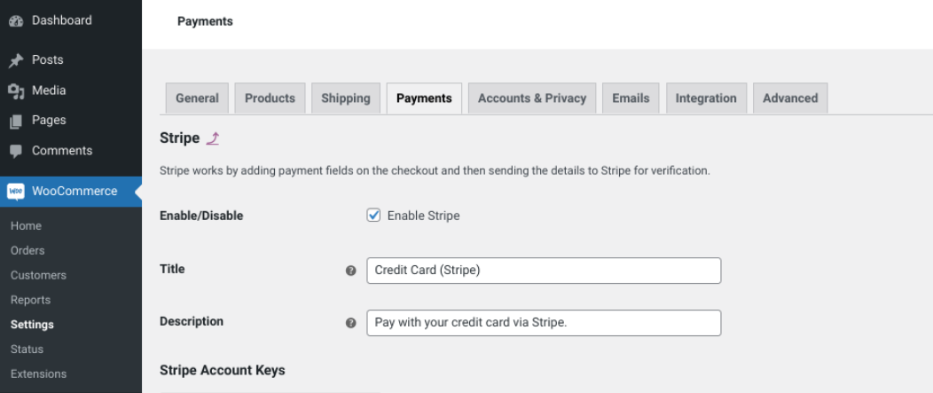 The WooCommerce Stripe payments screen.