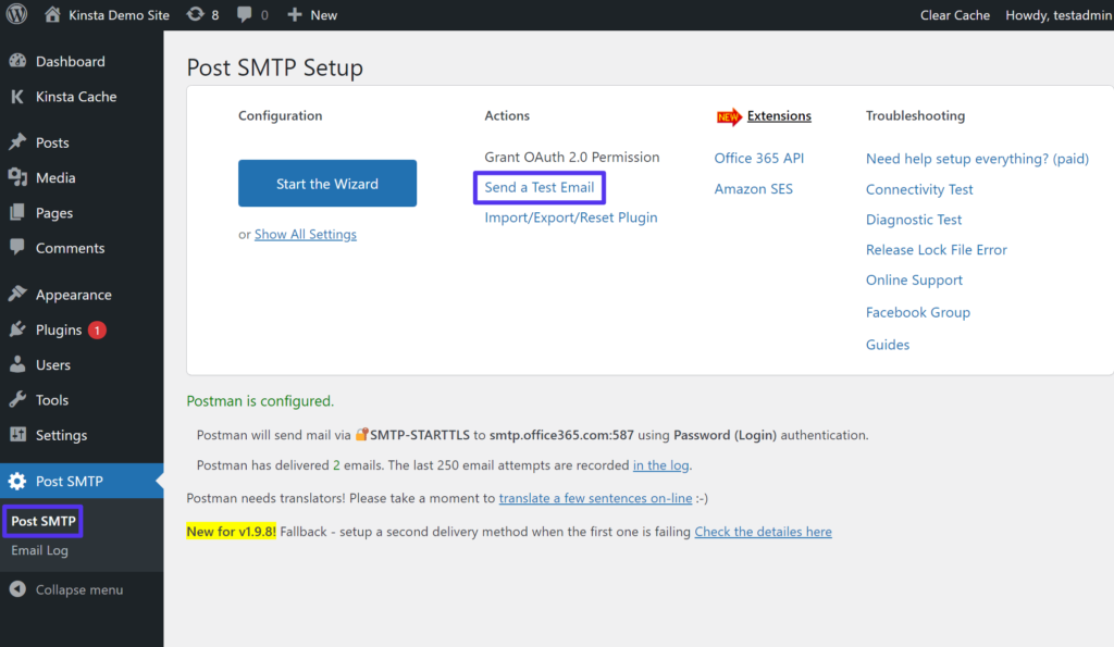 How to access Post SMTP's test email feature