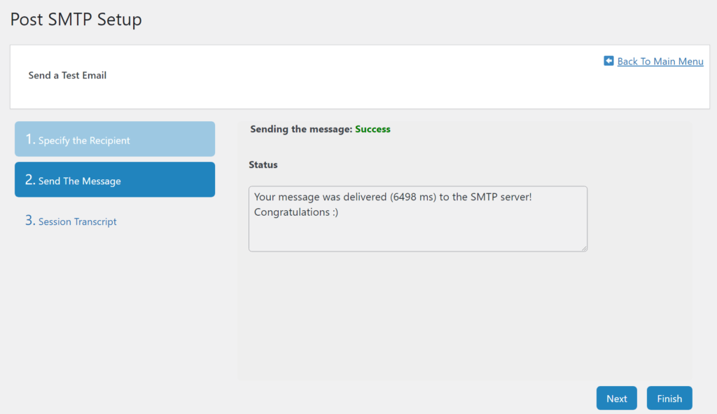 You should see a success message if the Outlook SMTP settings are correct