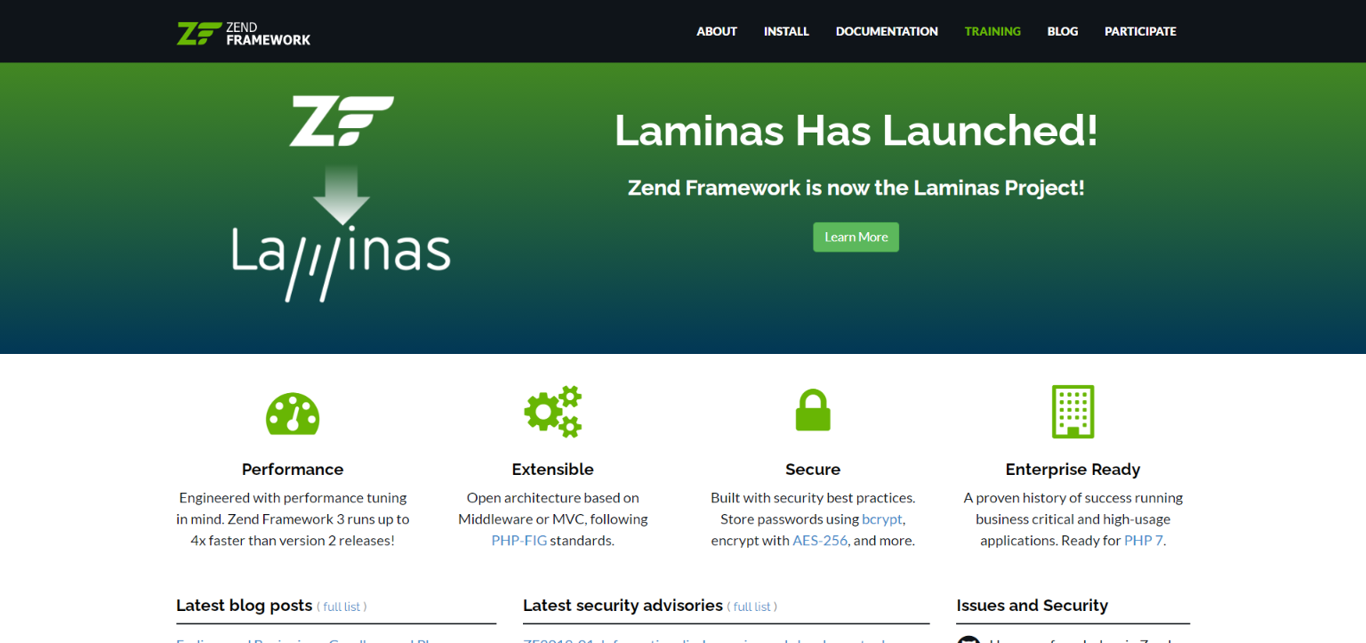 Zend, Laminas php freamwork