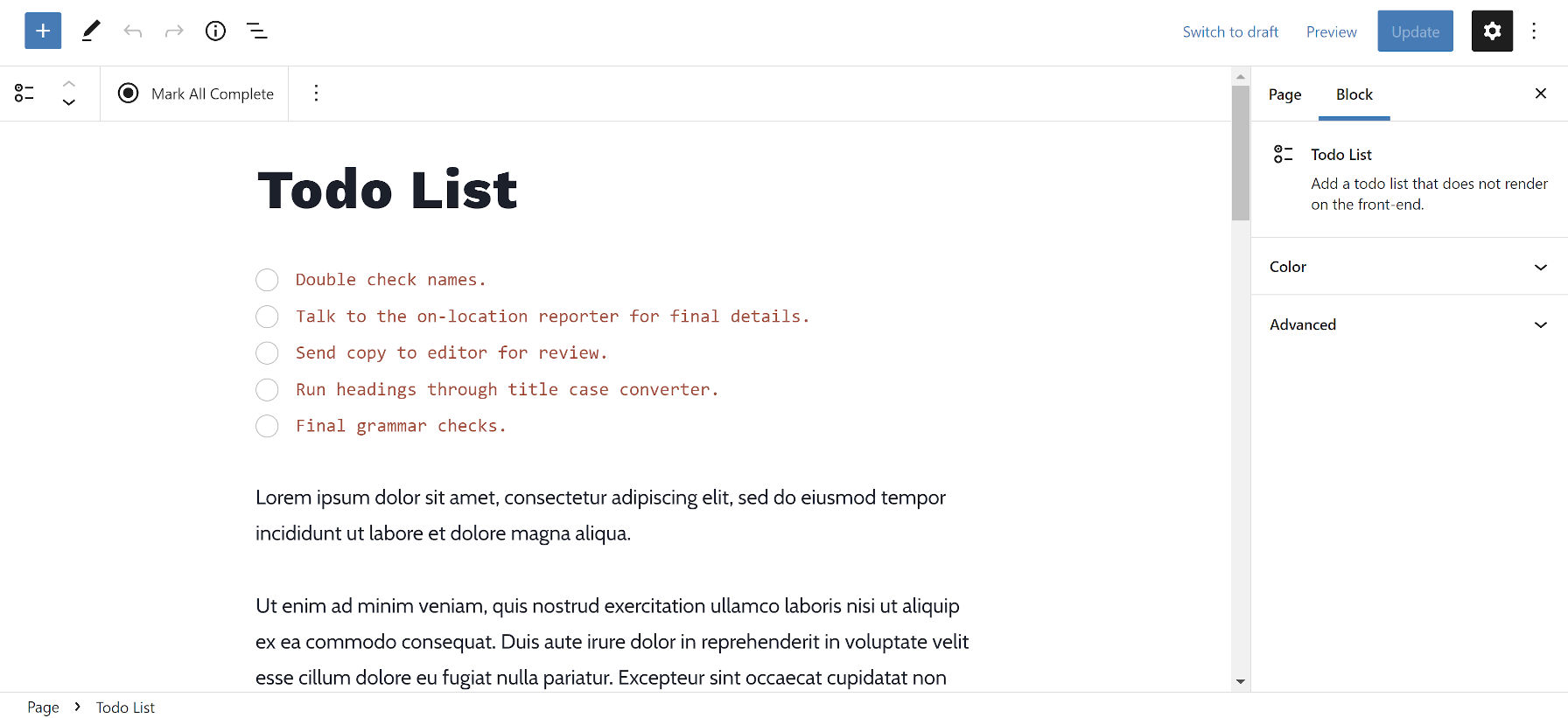 Adding the Todo List block and several items to an example WordPress post.