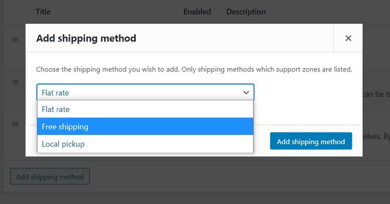Add shipping method WooCommerce