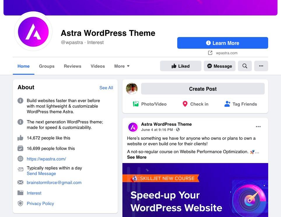 Astra Facebook page
