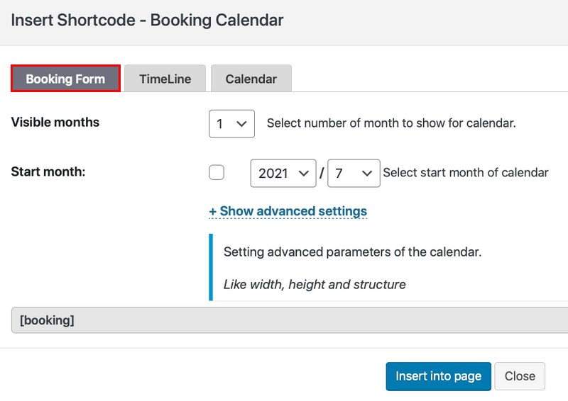 Booking form setting