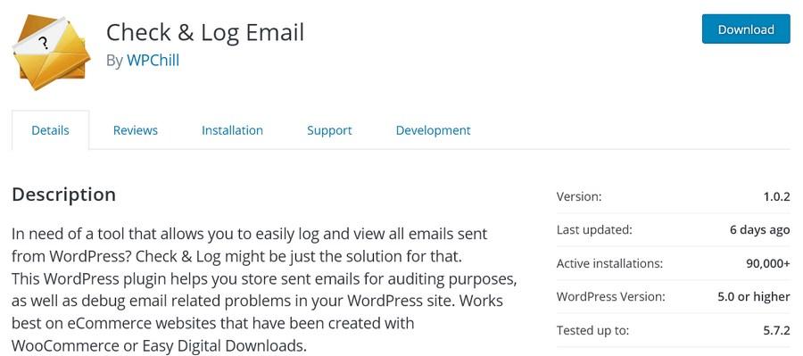 Check Log Email plugin