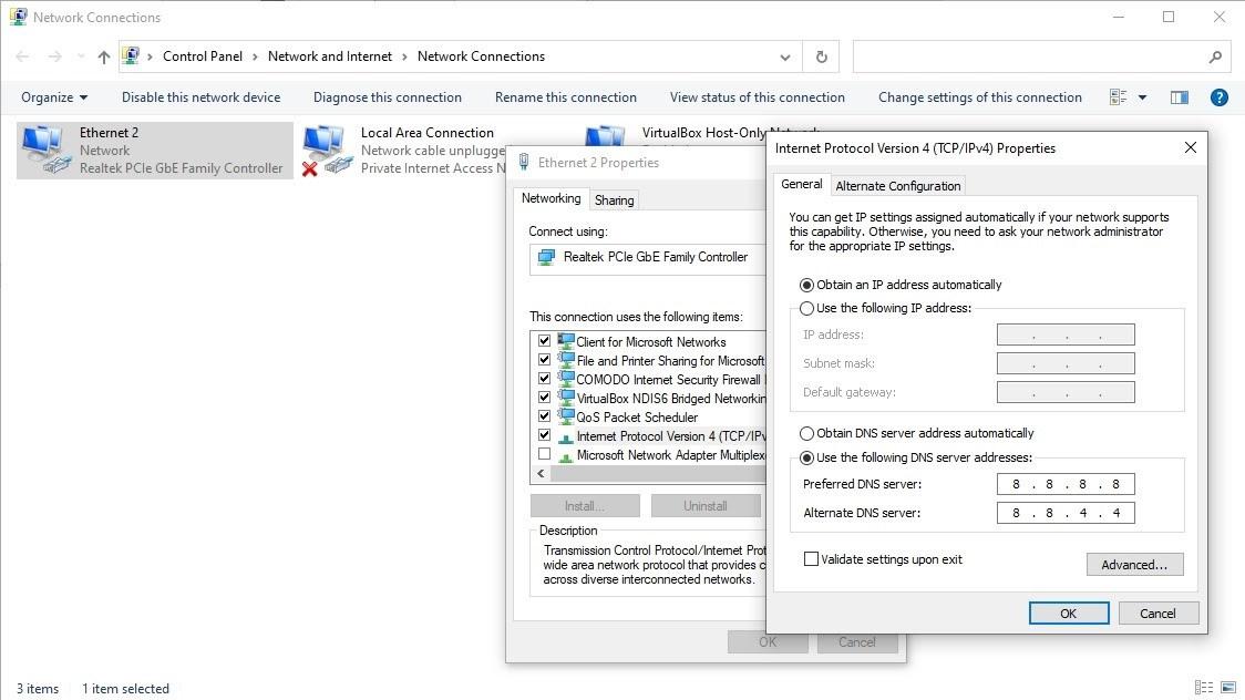 Check device DNS settings