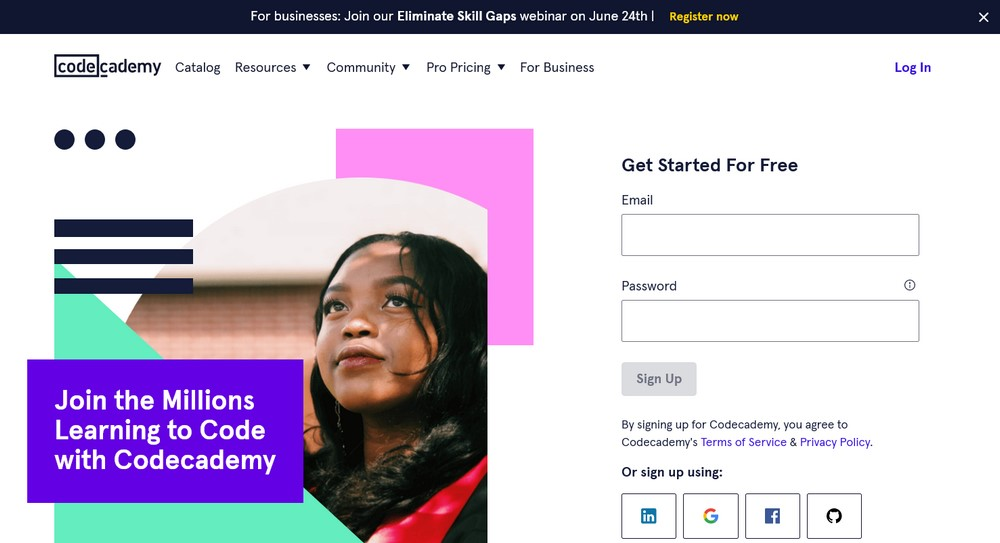 Codecademy homepage