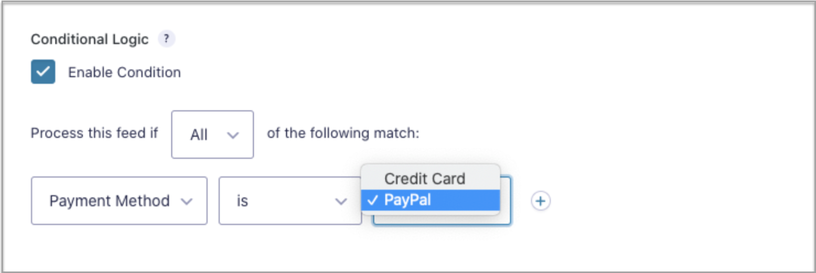 Conditional Logic Payment Feed