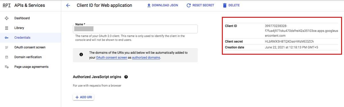 Gmail API client ID