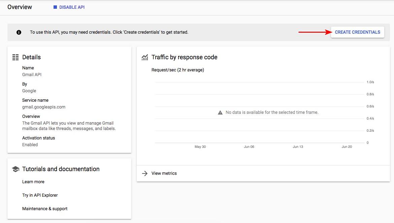 Gmail API dashboard