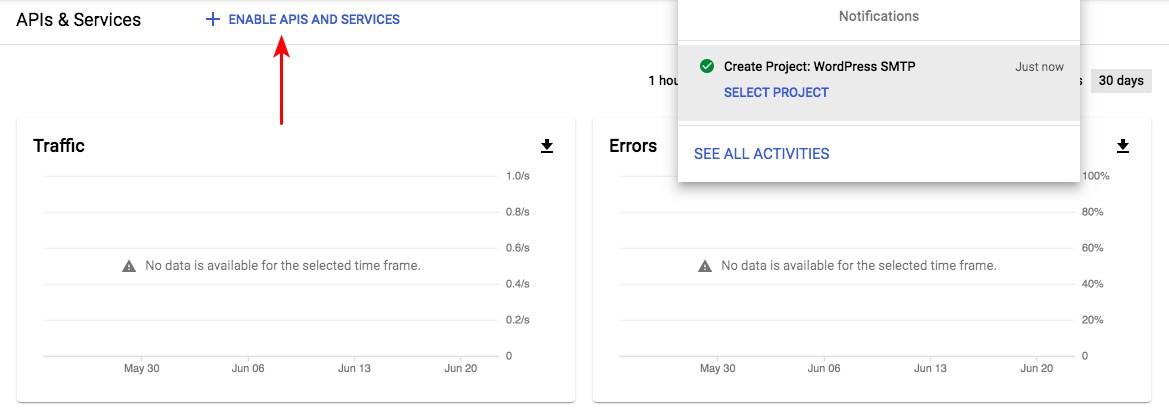 Google app dashboard
