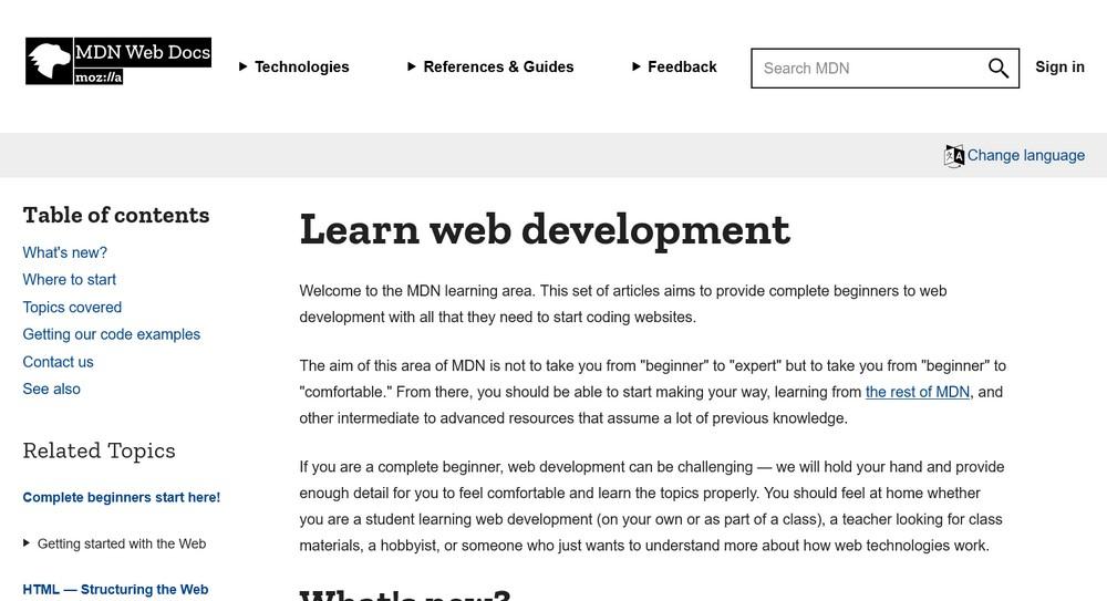 Learn web development ate mozilla