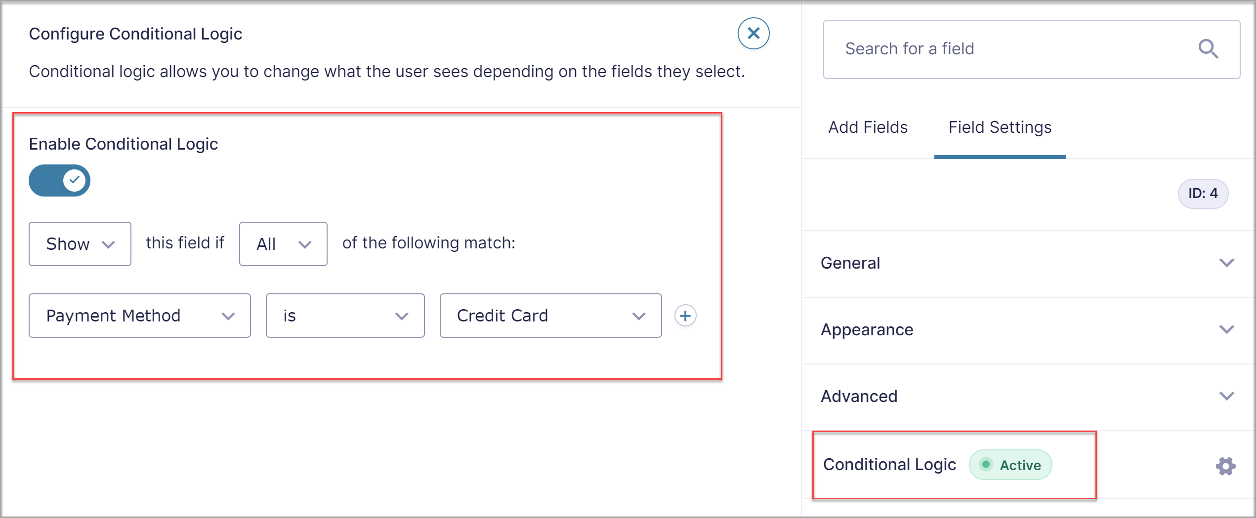 Payments Conditional Logic