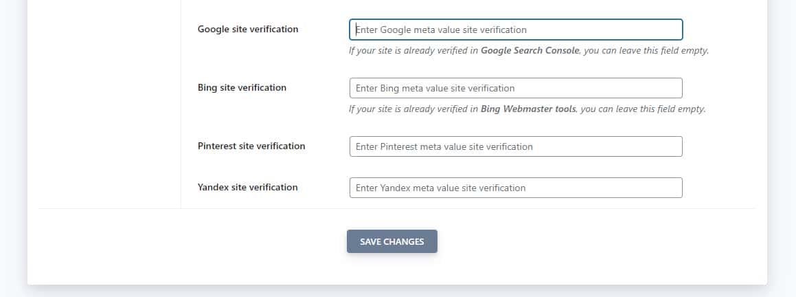 SEOPress Advanced settings simplify the Google site verification process.