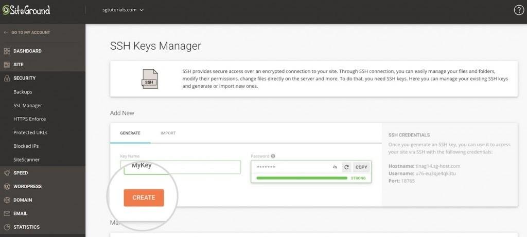 SiteGround SSH key creator