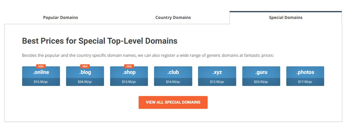 Siteground Special Domains