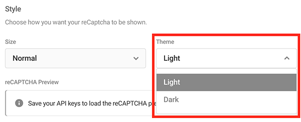 Where you choose between a light or dark theme.