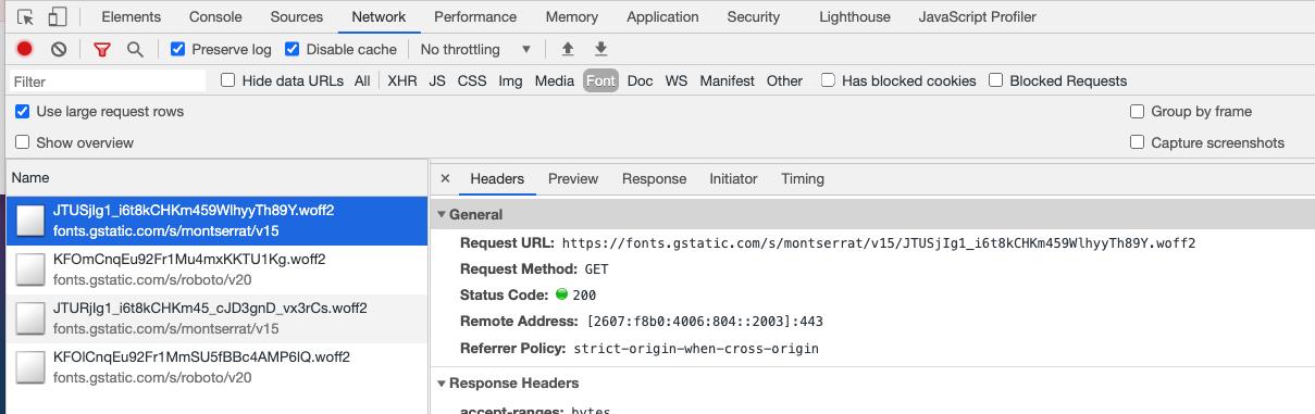 Screenshot of a font displayed in DevTools