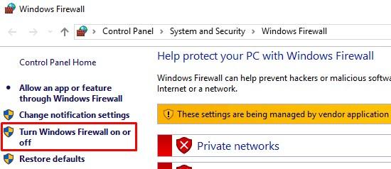 Turn on or off windows firewall