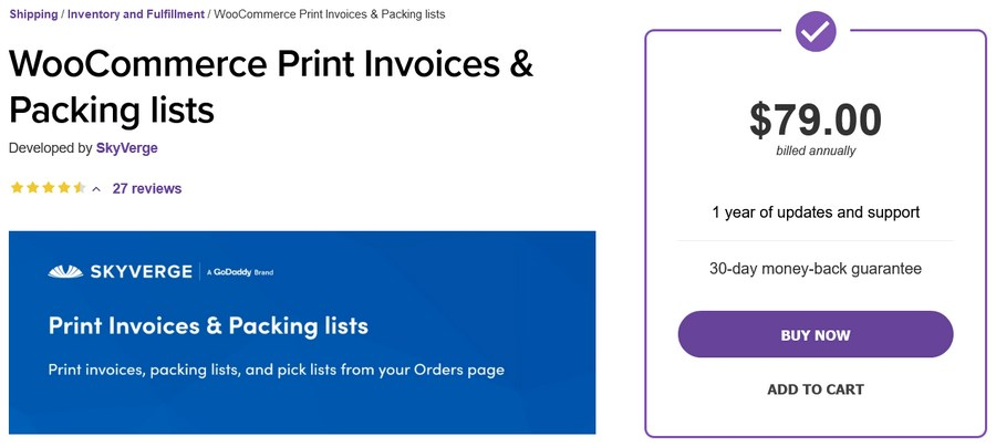 WooCommerce Print Invoices Packing lists plugin