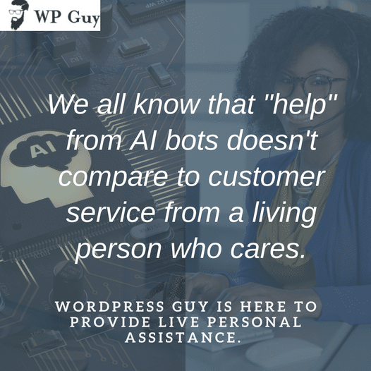 WordPress Guy is here to provide personalized, digestible website assistance that you need to bring out the best of your business. Schedule your consu...