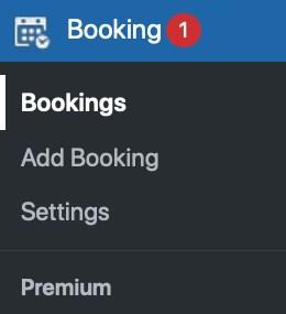 WordPress dashboard bookings