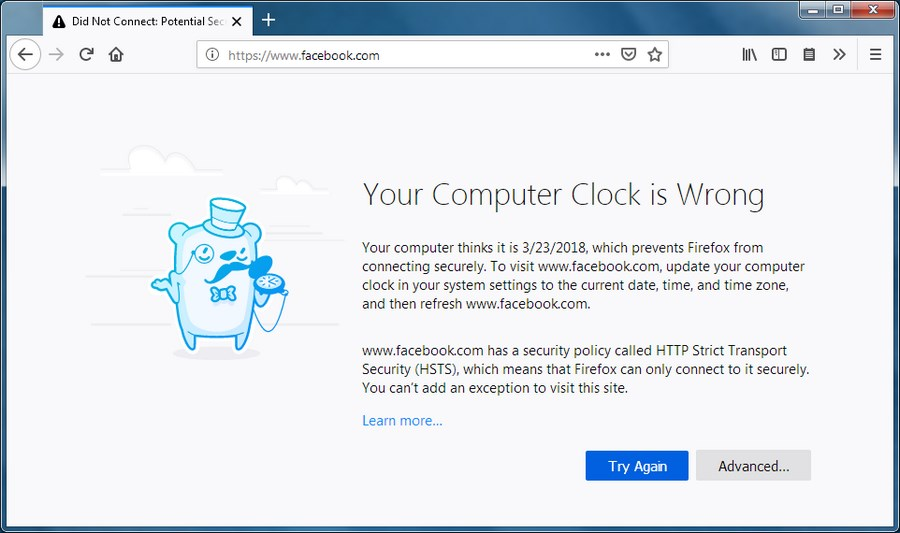 Your computer clock is wrong error