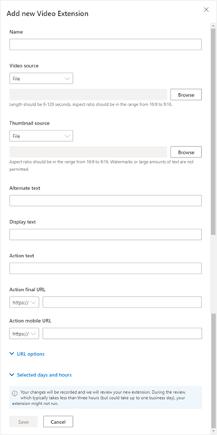 add microsoft ads video extension