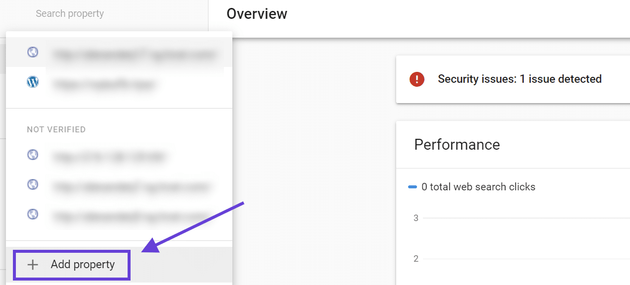 Adding a property to Google Search Console with an arrow pointing to the