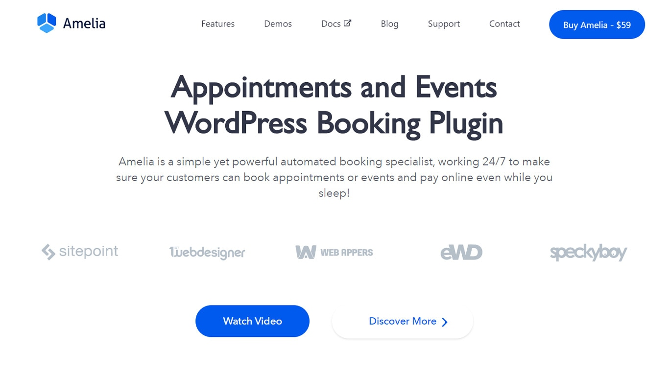 Amelia is a simple yet powerful plugin for bookings